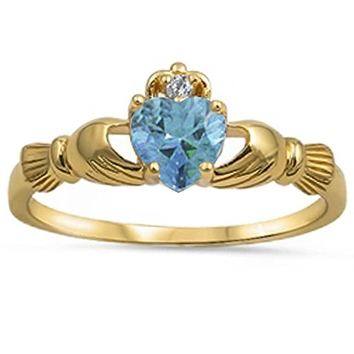 Zirconia Cubic Heart Aquamarine (Yellow Gold Plated Irish Claddagh Aquamarine Cubic Zirconia Heart .925 Sterling Silver Ring Size 9)