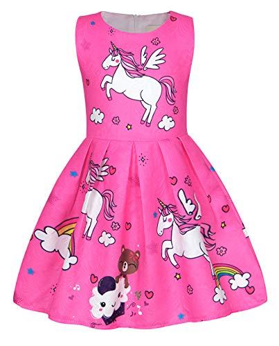 Cotrio Little Girls Unicorn Themed Birthday Party Dress