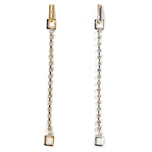 Topwholesalejewel Wedding Jewelry Gold Silver Crystal Rhinestone Chain Necklace Extender 2 Pcs