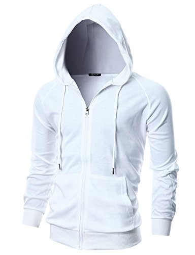 M Clothing, Shoes & Accessories Givon Mens Slim Fit Long Sleeve Lightweight One-tone Zip-up Hoodie