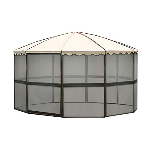 Casita 10-Panel Round Screenhouse Model 03165 Brown with Almond Roof Canopy (Shelter Screenhouse 10)