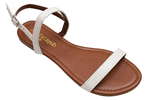 New White Pu Women Sandals - Womens Sandals, Double Strap, Open Toe Flat Summer Sandals for Women, Shoes for Ladies (8, White)