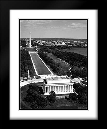 National Mall, Lincoln Memorial and Washington Monument, Washington D.C. - Black and White Variant 15x18 Black Modern Frame and Double Matted Art Print by Highsmith, ()