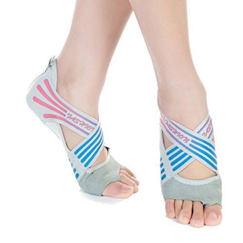 JOINFREE Girls Womens Crossover Yoga Pilates Socks Non Skid Dancing Shoes Pilates