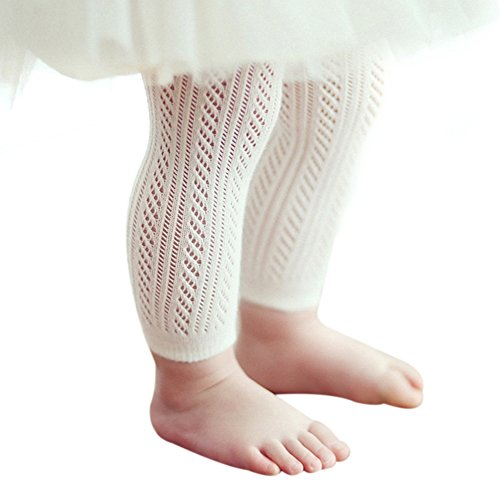 Off White Tights - Qiyuxow Infant Toddler Girls Solid Knit Footless Leggings/Tights Socks (2T-4T)
