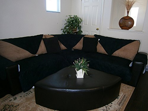 Octorose Quilted Micro Suede Sectional Sofa Couch Slipcover Pad Furniture Protector in Different Size (Black, 35x94')