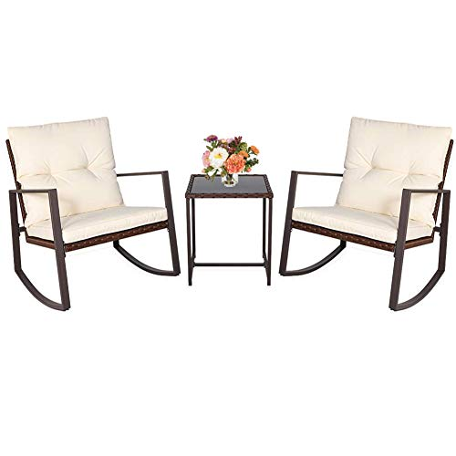 Patiomore 3 Pieces Rocking Chair Outdoor Bistro Set Brown Wicker Furniture,Two Chairs with Tempered Glass Coffee Table (Beige Cushion)