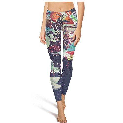 (Saerg Bearry Women's Trippy Galaxy Astronauts Eyeball Bird Tummy Control Yoga Pants Yoga Capris Workout Leggings)