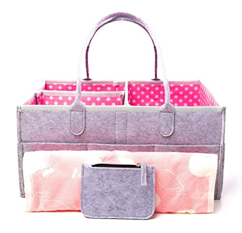 (Large Portable Baby Diaper Caddy Organizer Bundle with Bonus Changing Pad, Bib, Pacifier Clip and Wallet, Cute Polka Dot Design for Boys, Girls, Nursery, Baby Showers, Baby Registry, Storage and More)