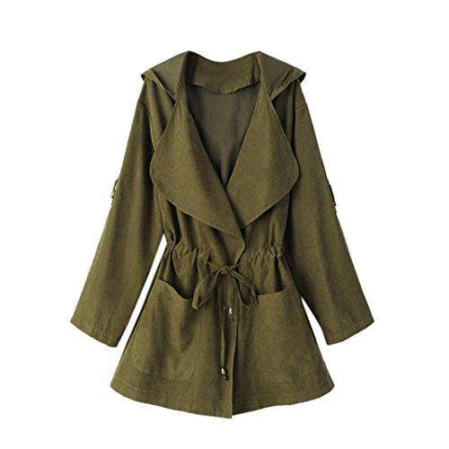 Bokeley Women Windbreaker, Casual Warm Fashion Hooded Long Coat Jacket Trench Windbreaker Parka Outwear (L, Green)