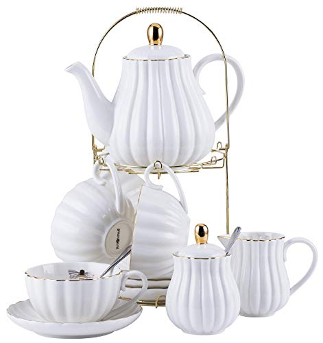 Jusalpha Fine China White Coffee Cup/Teacup, Saucer, Spoons, Teapot and Creamer set, 17-Pieces (FD-TW17PC SET, White) ()