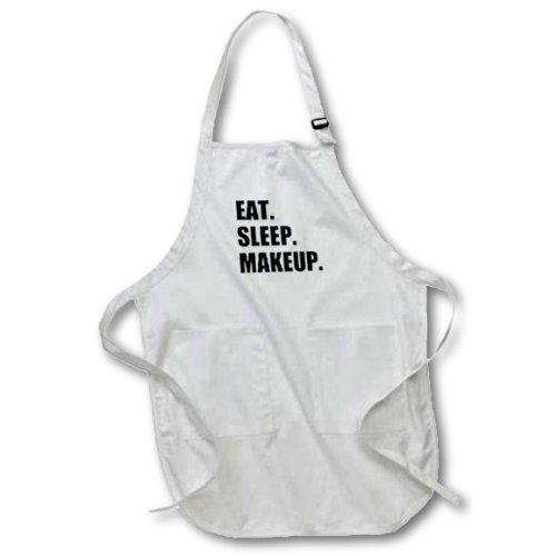 3dRose apr_180421_2 Eat Sleep Makeup Make-Up Artist Cosmetics Passion Black Text Gifts Medium Length Apron with Pouch Pockets, 22 by 24-Inch