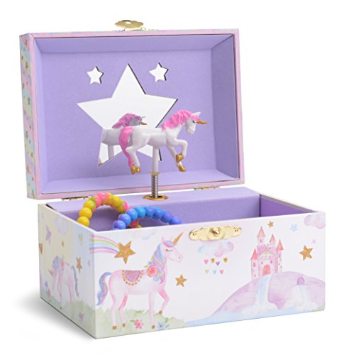 (JewelKeeper Girl's Musical Jewelry Storage Box with Spinning Unicorn, Glitter Rainbow and Stars Design, The Unicorn)