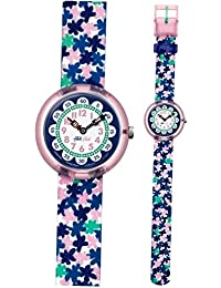 London Flower Pink Blue Fabric Strap Kids Watch FBNP080