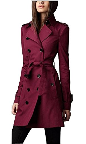 Eorish Women's British Style Elegant Double Breasted Slim Long Trench Coat (Asian S, Wine)
