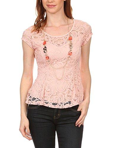 Regna X Women's lace peplm Cap Sleeve Blouse v Neck Tunic for Women Pink L