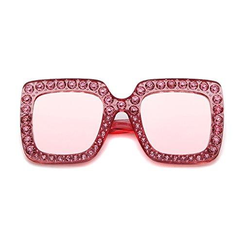 Carré Grand Diamond de Surdimensionné Femmes Cadre Lunettes Lentille soleil Mirror Pink Sparkling Protection 1 UV400 ADEWU 0w4nzqRq