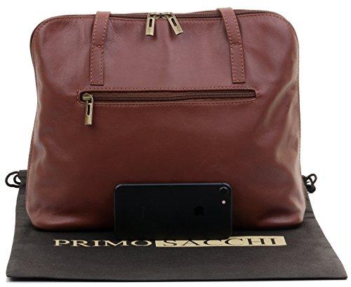 marque rangement bandoulière Brun sac main à à de protection en comprend grand de à Sacchi® de sac cuir manche Primo souple long un italien gqUvafB