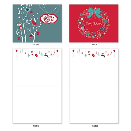 M6663XSB Red And Blue Retro Christmas : 10 Assorted Blank Christmas Note Cards Featuring Charming Christmas and Holiday Designs in Red and Blue, w/White Envelopes. Photo #2