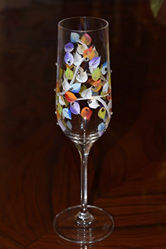 Hand Painted Wedding, Anniversary, Champagne flutes, Rainbow Painted with Swarovski Crystals, Set of 2