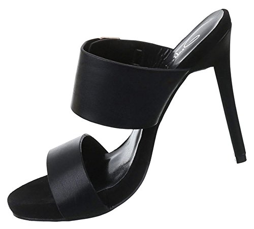 Damen Sandaletten Schuhe High Heels Stiletto Abendschuhe Business Club Pumps schwarz gold rosa rot 35 36 37 38 39 40 Schwarz