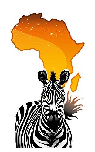 Wandtattoo Afrika Landkarte mit Zebra Wandsticker Tiere Safari Savanne