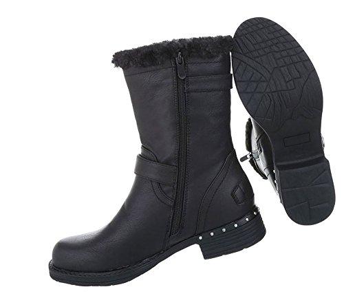 Damen Schuhe Stiefeletten Used Optik Boots Schwarz