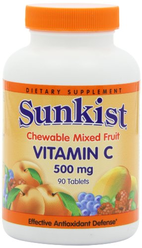 Sunkist VitaminC Chewable Tablets, Mixed Fruit, 90 Count