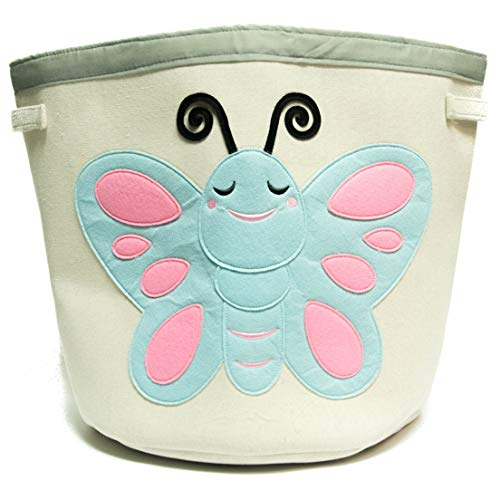 Grey Bee Animal Theme Collapsible Canvas Storage Bin for Kids, Teal- Butterfly by Grey Bee