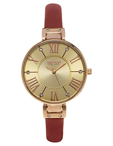 Crystal Red Strap Watch (SO&CO New York Women's 5091.4 Slim Red Crystal Accent Leather Strap Watch)