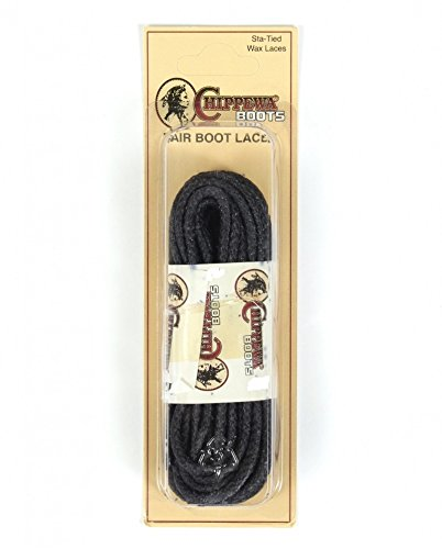 CHIPPEWA 54 in. Waxed Boot Laces Black -