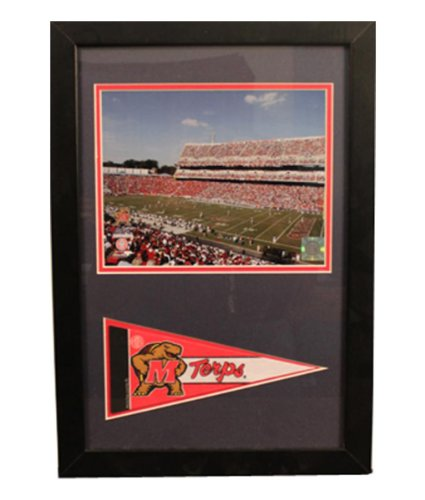 Encore Select 114-18 NCAA University of Maryland Framed Print and Pennant Flag, 12-Inch by 18-Inch by Encore