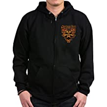Royal Lion Zip Hoodie (Dark) Fear No Evil Flaming Skull