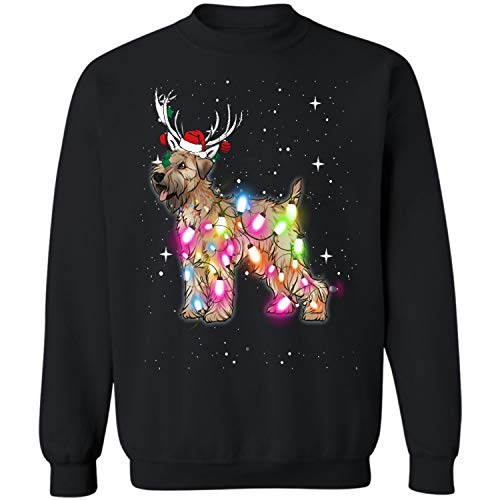 Christmas Lights Soft Coated Wheaten Terrier Dog Crewneck Sweatshirt (Black - - Mug Wheaten Soft Terrier Coated
