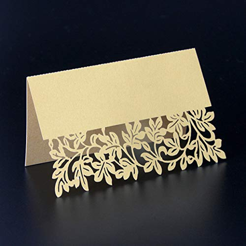 - YURASIKU 40pcs Laser Cut Leaves Table Name Card Exquisite Wedding Party Table Place Card for Engagement Ceremony Baby Shower Banquet