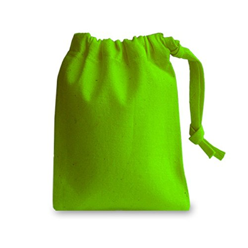 Bright Green Very Small 100% Cotton Drawstring Bag 10x13cm - ideal for Gift bags, Toys, Phone, Jewellery, Storage & More Totally4 Ltd