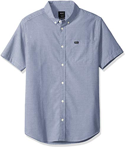 RVCA Men's Thatll DO Stretch Short Sleeve Woven Button UP Shirt, China Blue, L