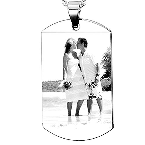 (Free Engraving-Double Sided Custom Picture Necklace Dog Tag Pendant Bead chain for Women)