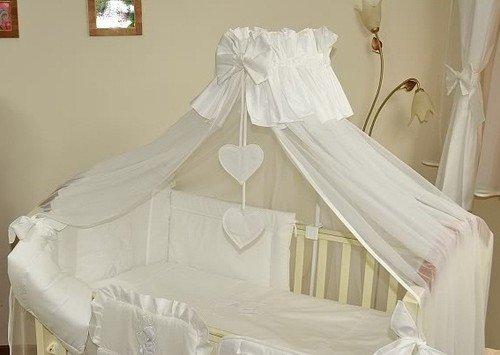 Baby Betthimmel/Fall/Moskitonetz groß 485cm + Universal Klemme Halterung für Babybett Bett-Herz weiß uni