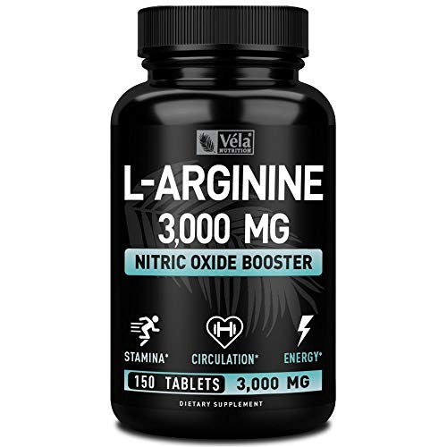 Véla by Zeal Naturals L Arginine 3000mg (150 Tablets | 1000mg) Maximum Dose L-Arginine Nitric Oxide Supplement for Muscle Growth, Pump Vascularity and Energy - L Arginine 1000mg Capsules