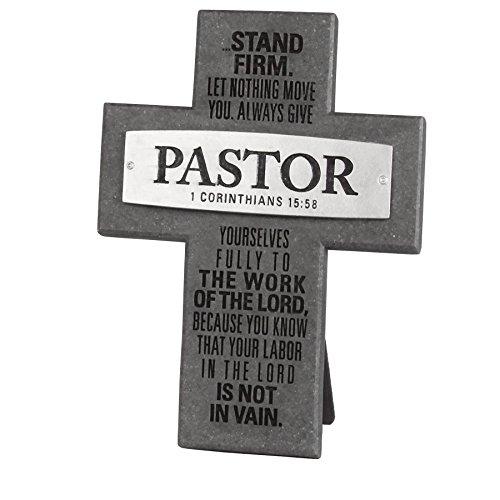 Lighthouse Christian Products Badge of Faith Pastor Wall/Desktop Cross, 4 3/4 x 6 3/8