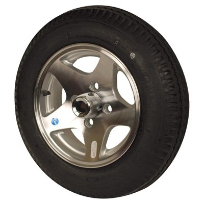 Aluminum Star Mag Trailer Tires and Assembly - 12in. Bias Ply, Model# DM412B-4SM Aluminum Star Mag Trailer