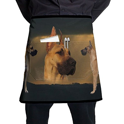 Great Dane Tie - Nicokee Dog Great Dane Chef Aprons Mens Womens Waist Tie Half Bistro Apron With 2 Pockets For Home Kitchen Cooking