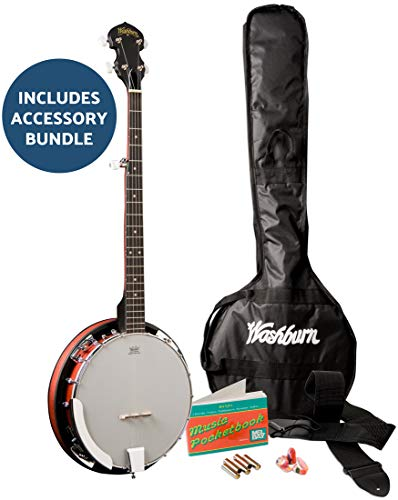 Washburn Banjo Starter Kit (Gig Bag, madera diseñada alternativa