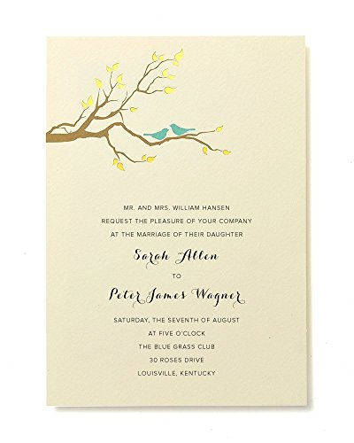 BRIDES Gold Foil Birds Print At Home Invitation Kit, Set of 30 Pocket Invitations With Response (Love Birds Wedding Invitation)