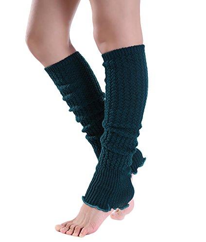 Urban CoCo Women's Cable Knit Leg Warmers Winter Crochet Footless Socks (Dark green) Crochet Dark Green