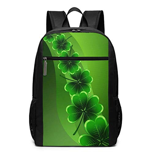 Shamrock Four Leaf Clover Laptop Backpack for 15.6 Inch, School Computer Backpack Water-Repellent Casual Daypack for Travel/Business/College/Men/Women Business Durable Laptops and Notebook Bag ()