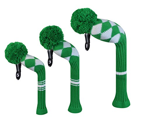 Scott Edward Kelly Green White Aryle Style Golf Headcovers, Set of 3, for Wood Clubs (Tiger White Headcover)