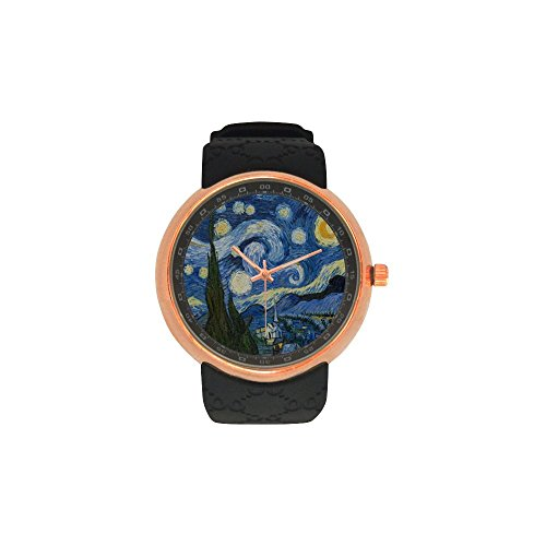 Novelty Gift Vincent Van Gogh Painting Starry Night Men's Rose Gold Plated Resin Strap Watch