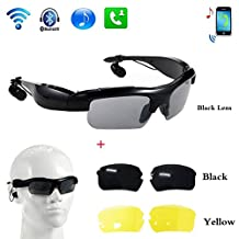WONFAST® Wireless Motorcycle Bluetooth Sunglasses Sun Glasses Music Headsets Headphones for iPhone Samsung Bluetooth Devices+Free Replaceable 2 pair lens (Yellow,Black) (black)